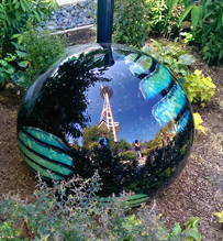 Chihuly ball reflecting Seattle Space Needle